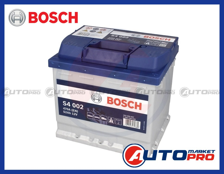 BATTERIA PER AUTO BOSCH S4 52 Ah VW GOLF IV 1.4 1.6 DAL 1997 AL 2004