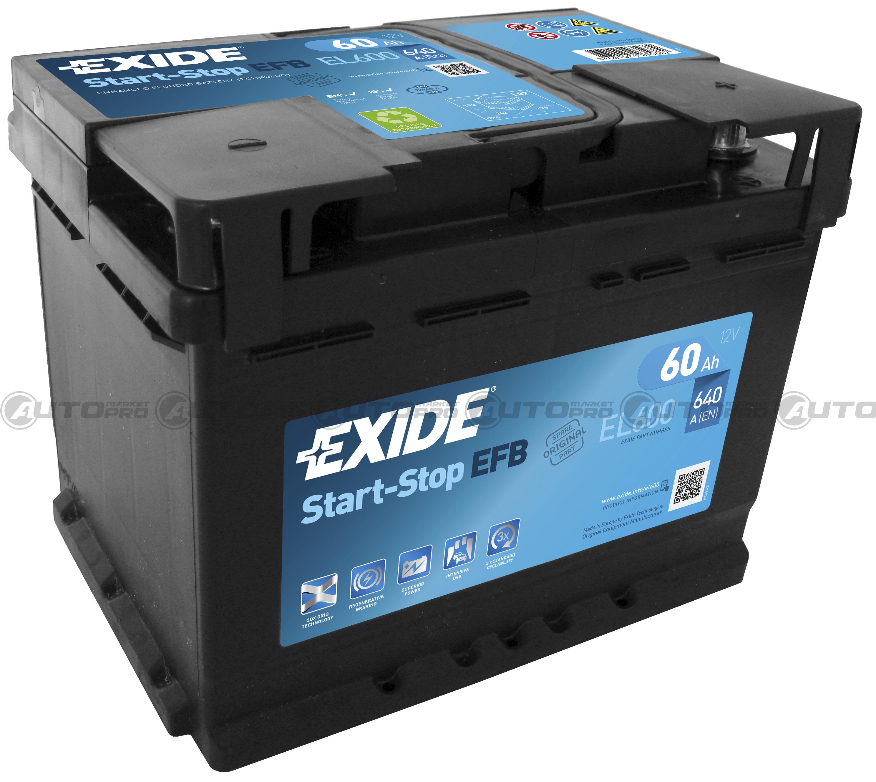 exide start stop efb el600 60 ampere 640 en ricambi auto furgoni e moto. Black Bedroom Furniture Sets. Home Design Ideas