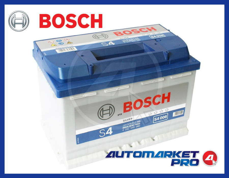 batteria per auto bosch s4 74 ah ampere 680 en 12 volt silver s4 008 0092s40080 ebay. Black Bedroom Furniture Sets. Home Design Ideas