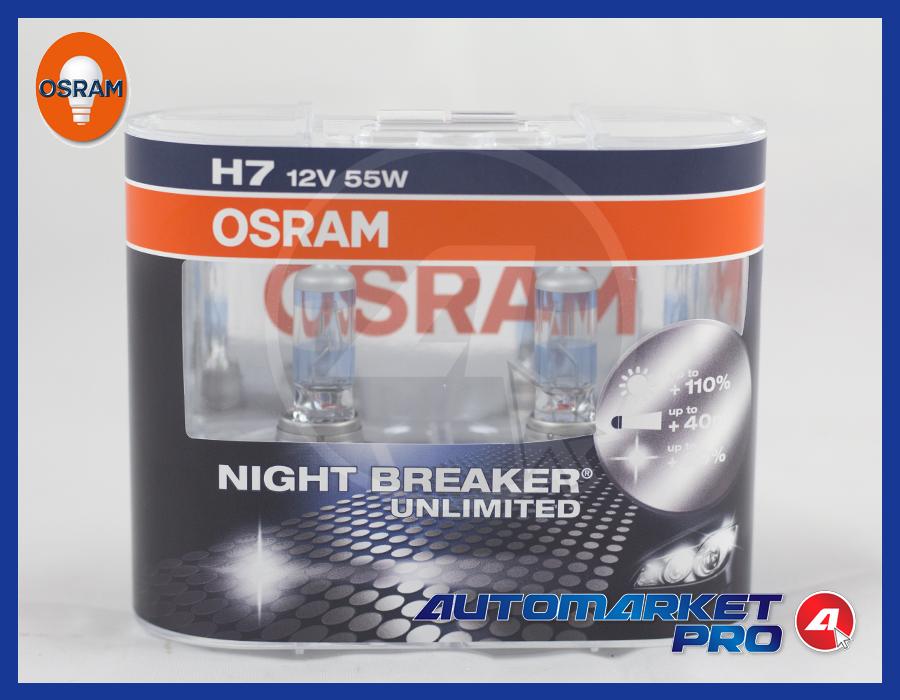 2 LAMPADINE OSRAM H7 NIGHT BREAKER UNLIMITED 12V 55W LAMPADE FARI LUCE PX26D