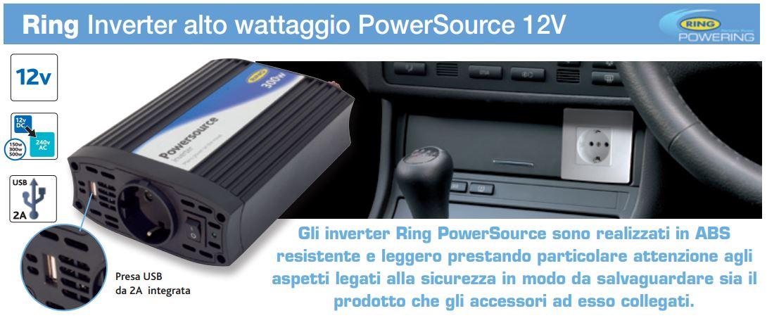 INVERTER 12 VOLT ALTO VOLTAGGIO 300 WATT AUTO CON USB CERTIFICATO CE 10-15 V DC