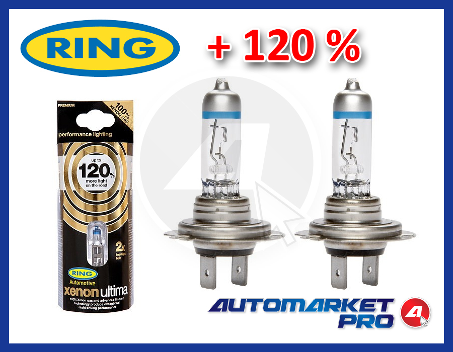 KIT 2 PEZZI LAMPADE AUTO H7 RING XENON ULTIMA +120% OMOLOGATE 55W RW1277 ALOGENE