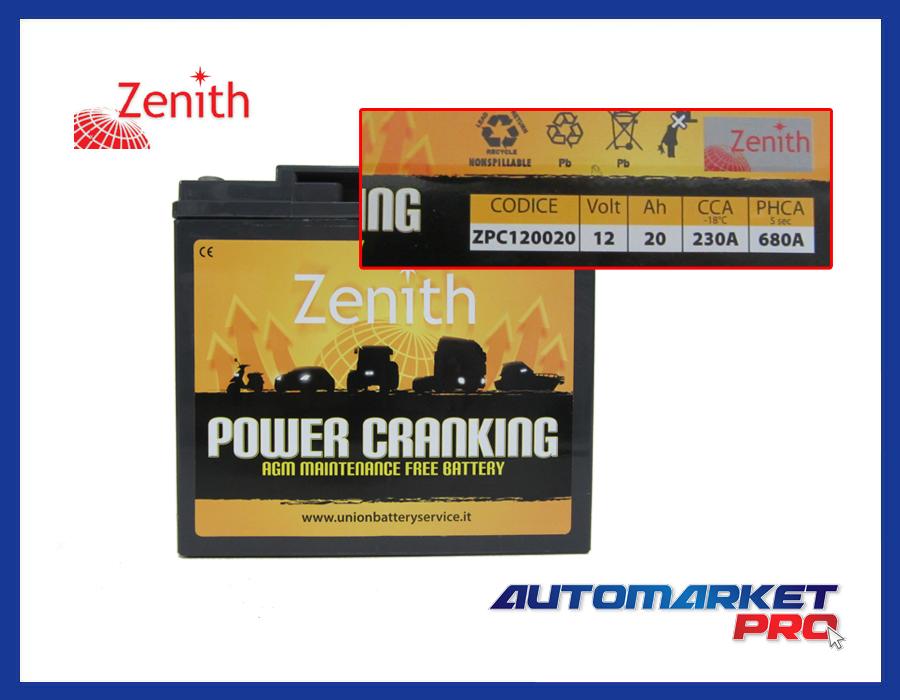BATTERIA ZENITH AGM 12V 20 Ah SPUNTO 680 A BOOSTER AVVIAMENTO ACCENSIONE ZPC1200