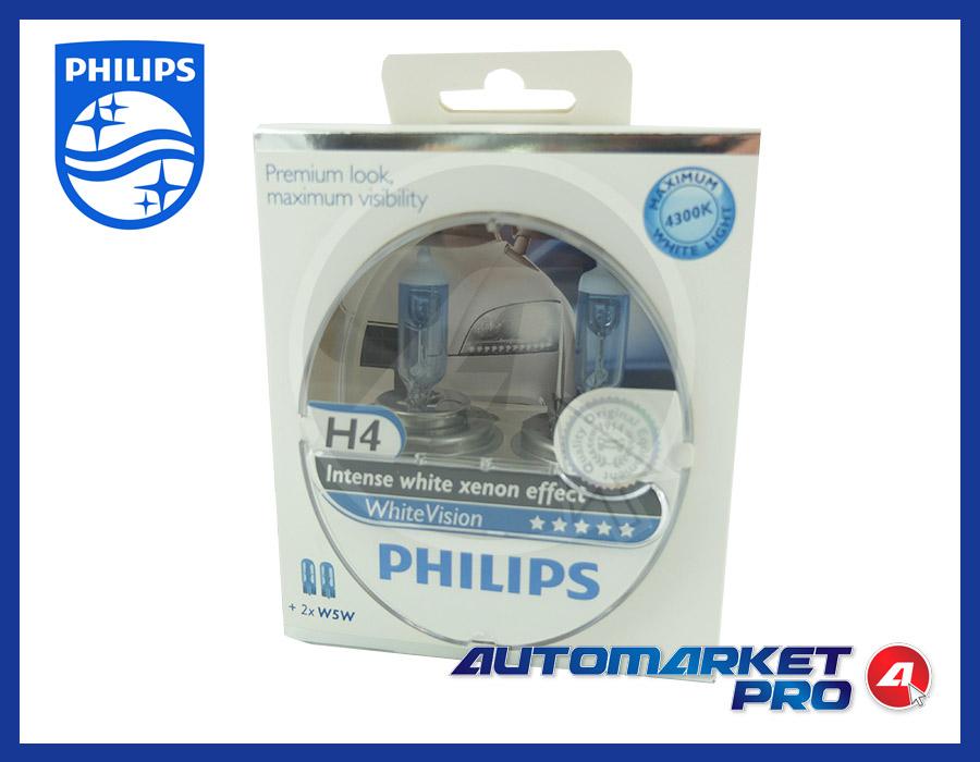 2 LAMPADINE H4 PHILIPS 12V VOLT 12342WHVSM 60/55W LAMPADE FARO ANTERIORE FANALE