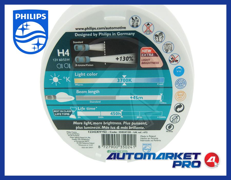 1 LAMPADINA H4 PHILIPS 12V VOLT 12342XV+S2 60/55W LAMPADA FARO ANTERIORE FANALE