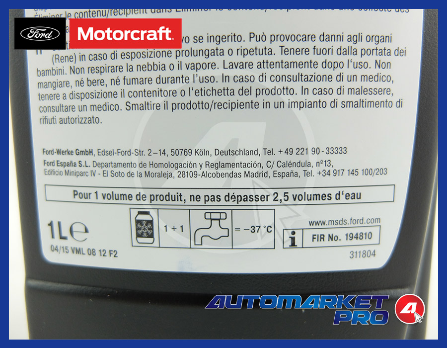 1 LITRO ANTIGELO ROSSO RADIATORE MOTORE FORD WSSM97B44D WSSM97B44E