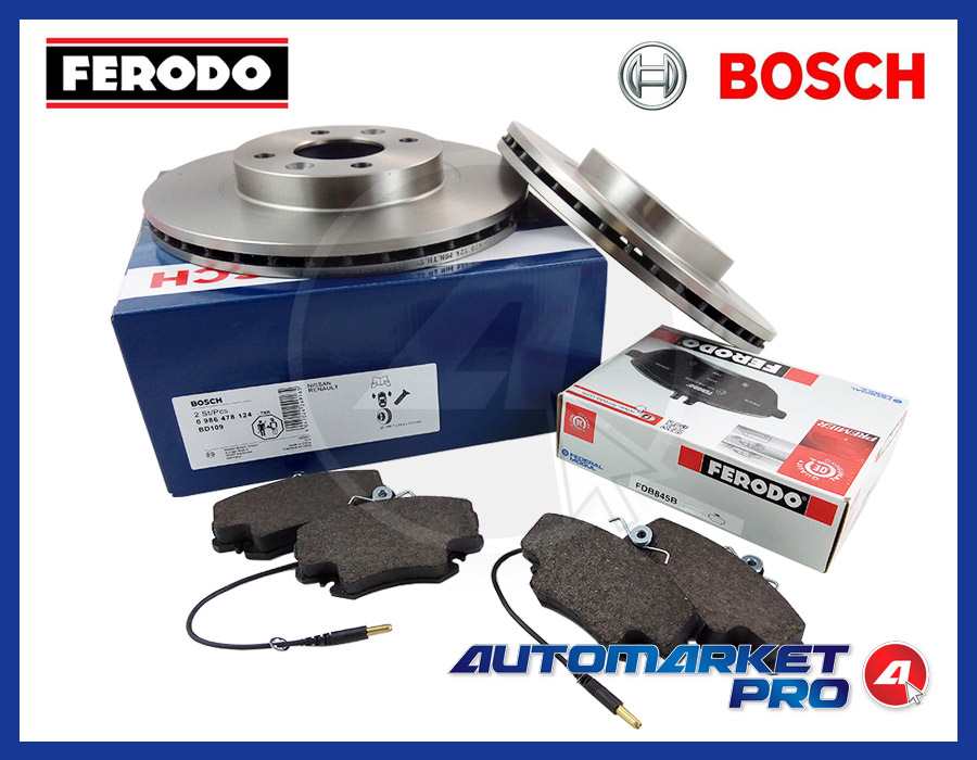 KIT DISCHI BOSCH + PASTIGLIE FRENO FERODO RENAULT CLIO II 1.2 BENZINA CON ABS