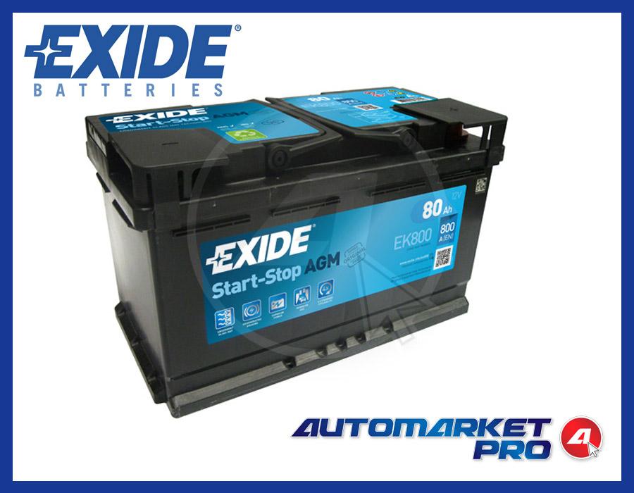 BATTERIA PER AUTO EXIDE EK800 80 AH AMPERE 800 EN 12 VOLT START & STOP AGM