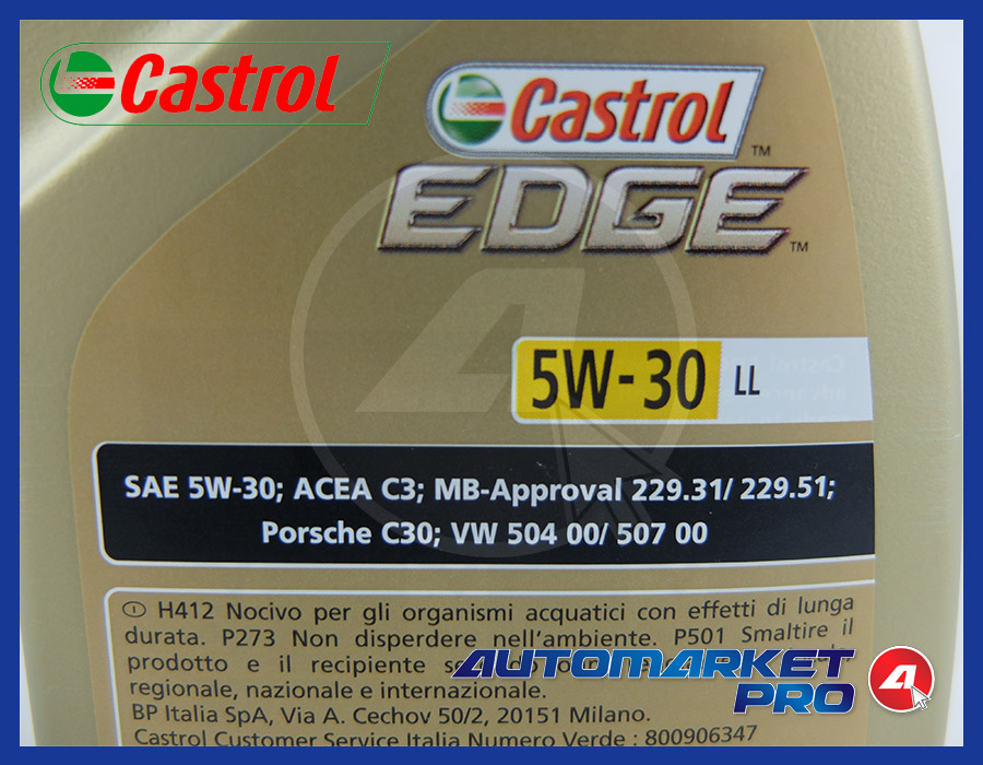 CASTROL EDGE 5W30 TITANIUM FST LL OLIO MOTORE LONGLIFE SINTETICO 12 LT CARTONE