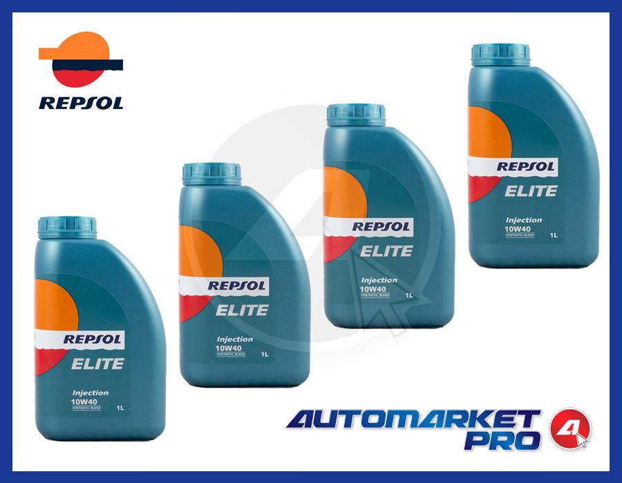 4 LITRI OLIO MOTORE REPSOL 10W40 ELITE INJECTION A3 B3 MB 229.1 VW 501.01 505.00