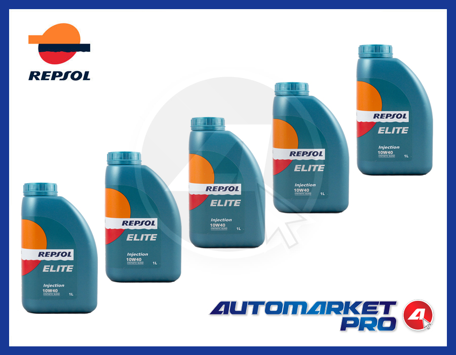 5 LITRI OLIO MOTORE REPSOL 10W40 ELITE INJECTION A3 B3 MB 229.1 VW 501.01 505.00